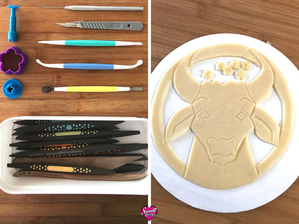 Two photos, side-by-side, left side shows the tools I used to make pie art (scalpel, innovative sugarworks sugar shapers, wilton cake decorating tools, the right side shows the finished Ox made from pie crust