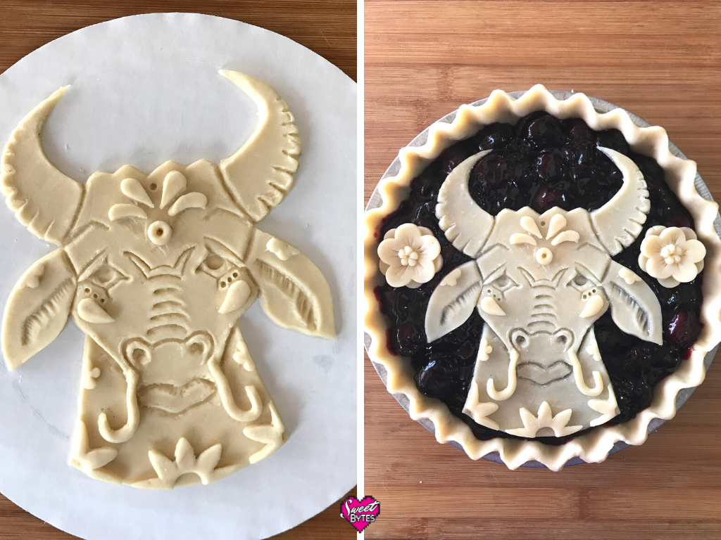 Two images of the raw Year of the Ox pie. On the left, the pie crust ox is on a cake round, on the right the unbaked Lunar New Year Pie is assembled.