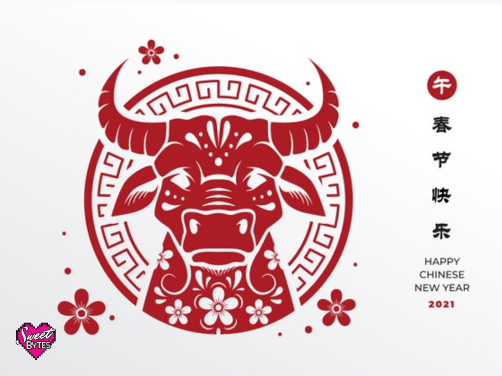 red and white decorative image of an ox for Chinese New Year 2021