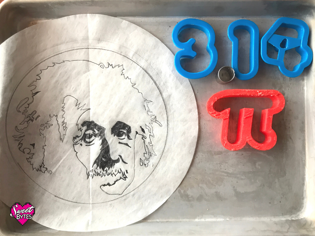 Line drawing of Einstein on parchment paper on the left, 3.14 number cookie cutters and a pi symbol cookie cutter for Pi Day Pie