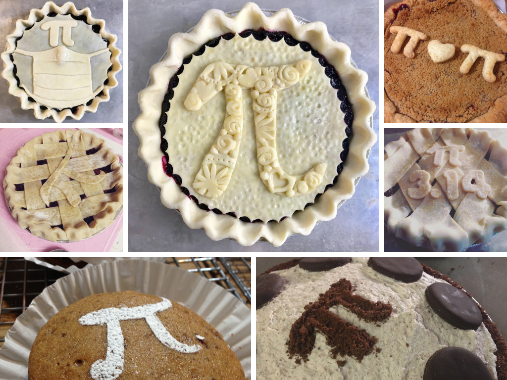 An image collage of pi day pies with pi day crust decorations